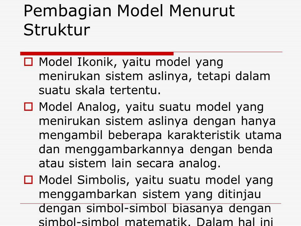 Pembagian Model Menurut Struktur  Model Ikonik, yaitu model yang menirukan sistem aslinya, tetapi dalam suatu skala tertentu.  Model Analog, yaitu s