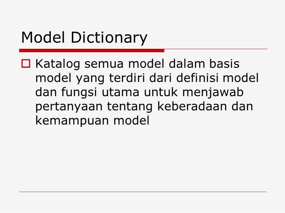 Model Dictionary  Katalog semua model dalam basis model yang terdiri dari definisi model dan fungsi utama untuk menjawab pertanyaan tentang keberadaa