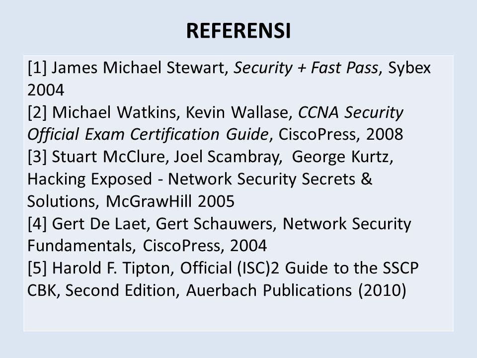 Silabus 1.Teknik Penyerangan OSI Layer, konsep keamanan jaringan, teknik penyerangan, … 2.Teknik Pengamanan / Pertahanan Otentikasi & kriptografi, firewall/iptables, vpn dan IDS 3.Pengelolaan Resiko Keamanan, beserta aspek Hukum/Legalitas