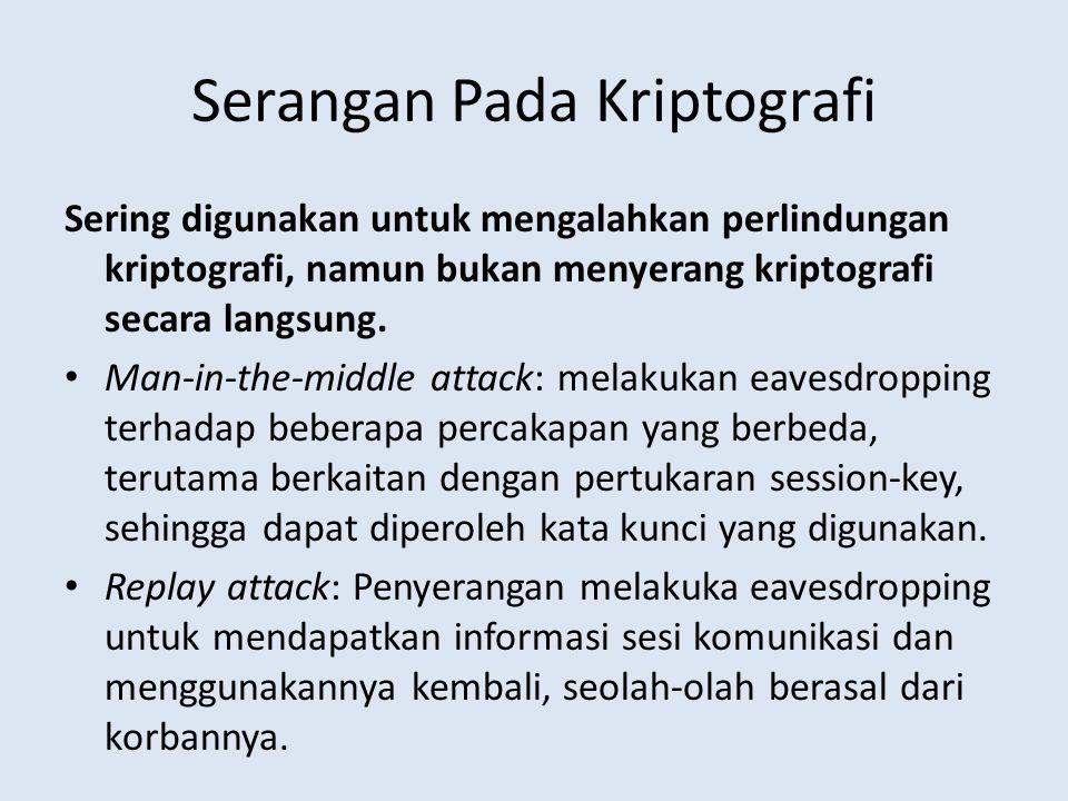Serangan Pada Kriptografi Sering digunakan untuk mengalahkan perlindungan kriptografi, namun bukan menyerang kriptografi secara langsung. Man-in-the-m