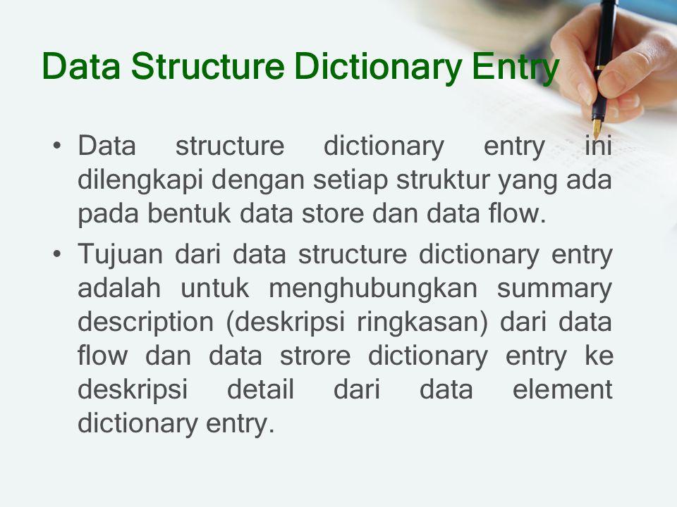 Data Structure Dictionary Entry Data structure dictionary entry ini dilengkapi dengan setiap struktur yang ada pada bentuk data store dan data flow. T