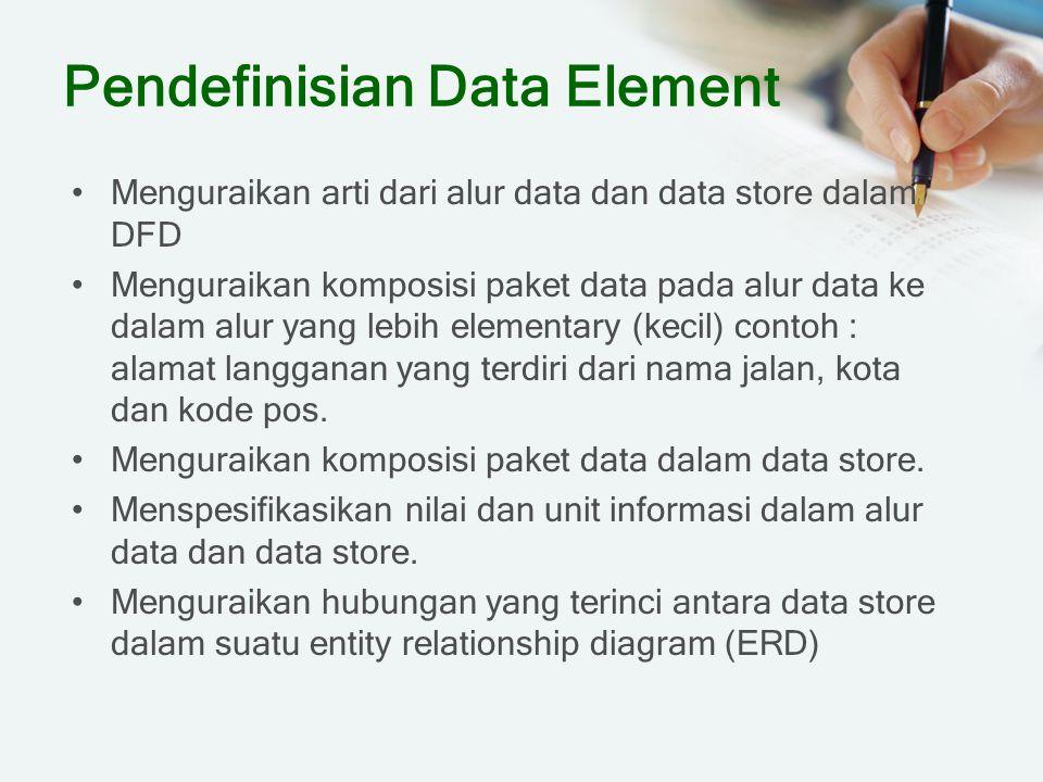 Pendefinisian Data Element Menguraikan arti dari alur data dan data store dalam DFD Menguraikan komposisi paket data pada alur data ke dalam alur yang