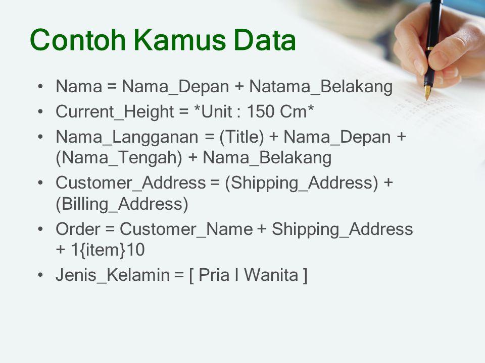 Contoh Kamus Data Nama = Nama_Depan + Natama_Belakang Current_Height = *Unit : 150 Cm* Nama_Langganan = (Title) + Nama_Depan + (Nama_Tengah) + Nama_Be