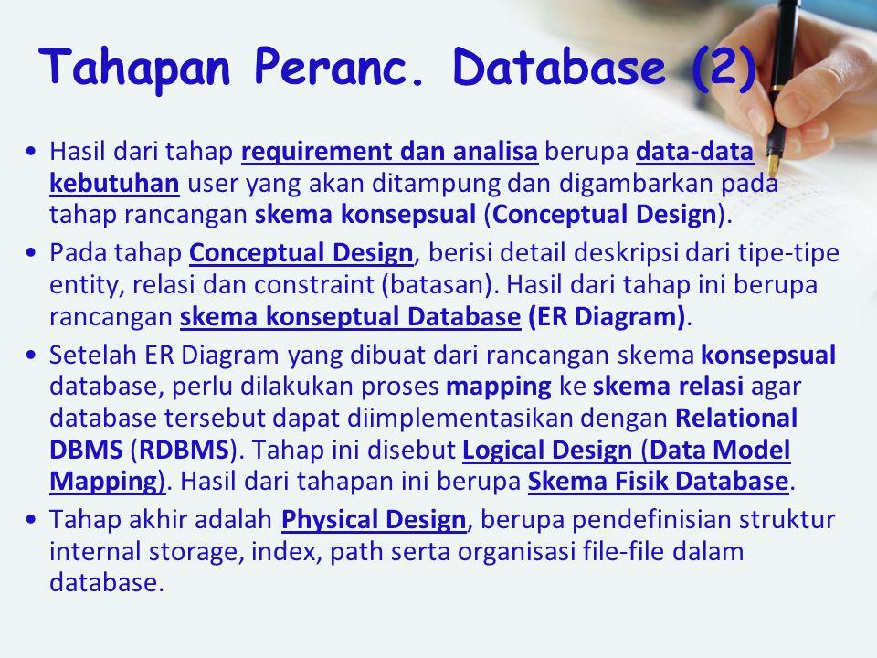Hasil dari tahap requirement dan analisa berupa data-data kebutuhan user yang akan ditampung dan digambarkan pada tahap rancangan skema konsepsual (Co