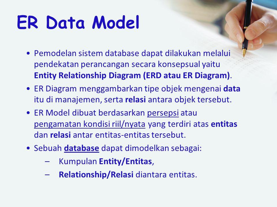 ER Data Model Pemodelan sistem database dapat dilakukan melalui pendekatan perancangan secara konsepsual yaitu Entity Relationship Diagram (ERD atau E