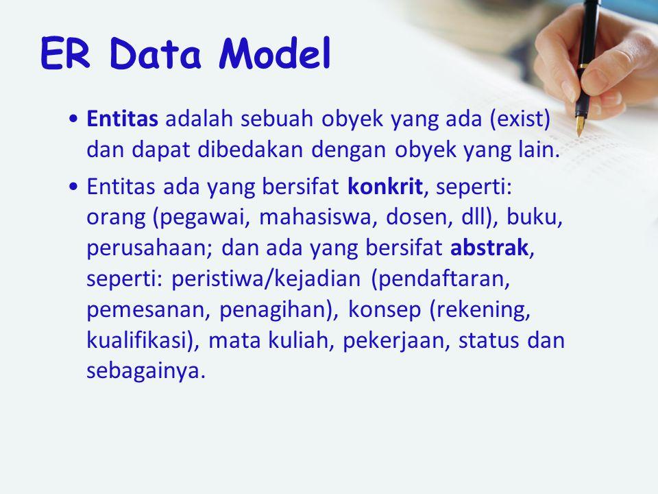 ER Data Model Entitas adalah sebuah obyek yang ada (exist) dan dapat dibedakan dengan obyek yang lain. Entitas ada yang bersifat konkrit, seperti: ora