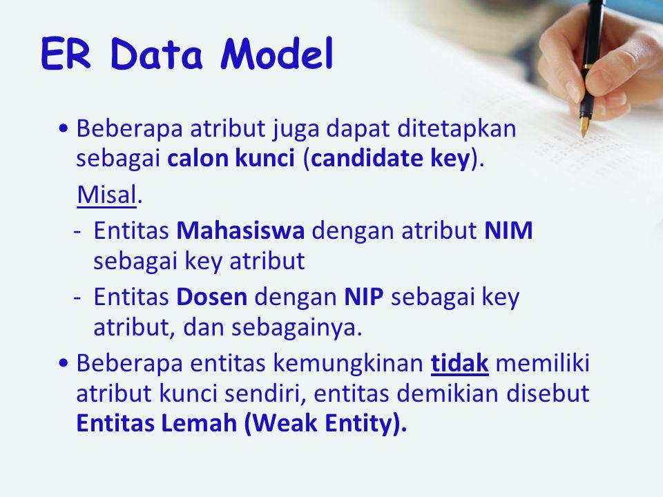 ER Data Model Beberapa atribut juga dapat ditetapkan sebagai calon kunci (candidate key). Misal. -Entitas Mahasiswa dengan atribut NIM sebagai key atr