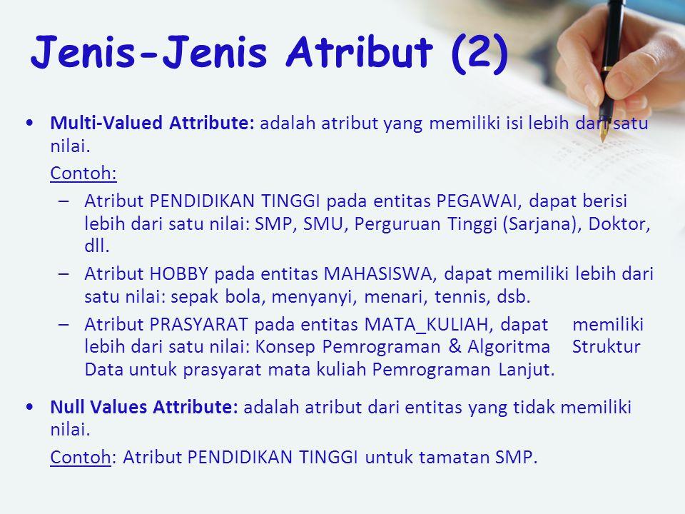 Multi-Valued Attribute: adalah atribut yang memiliki isi lebih dari satu nilai. Contoh: –Atribut PENDIDIKAN TINGGI pada entitas PEGAWAI, dapat berisi