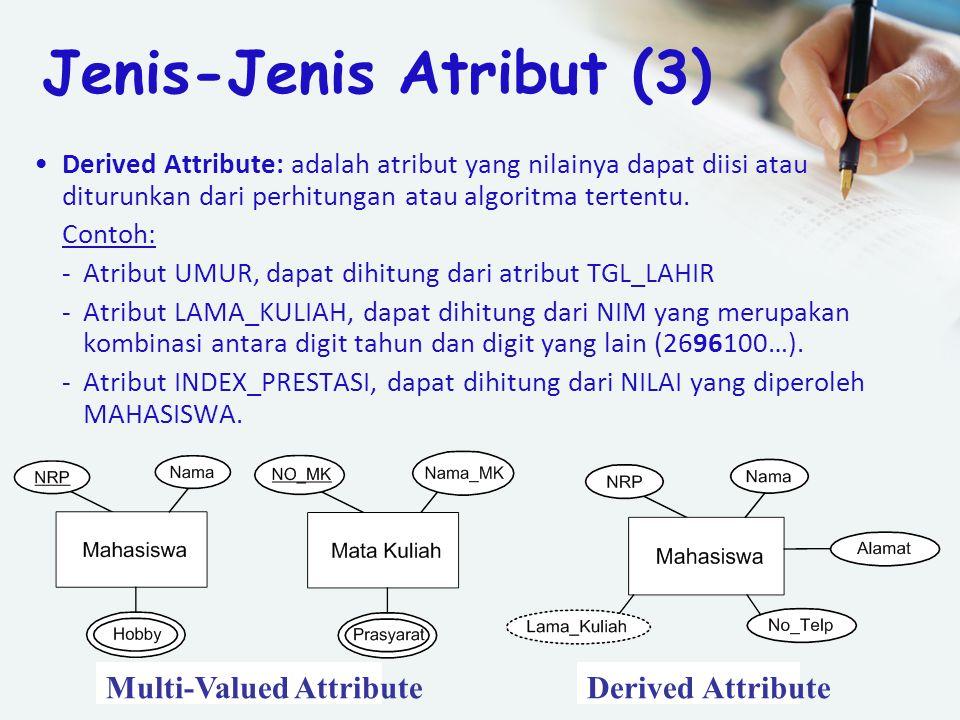 Derived Attribute: adalah atribut yang nilainya dapat diisi atau diturunkan dari perhitungan atau algoritma tertentu. Contoh: -Atribut UMUR, dapat dih
