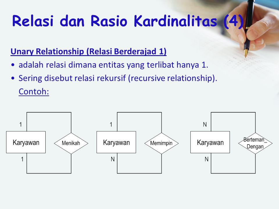Unary Relationship (Relasi Berderajad 1) adalah relasi dimana entitas yang terlibat hanya 1. Sering disebut relasi rekursif (recursive relationship).