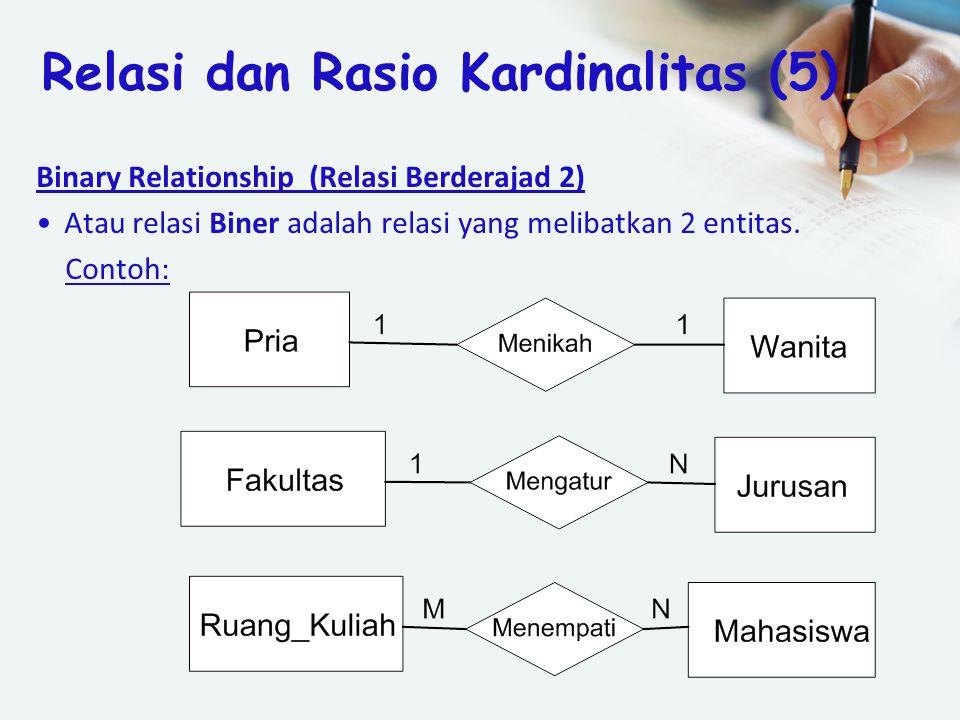 Binary Relationship (Relasi Berderajad 2) Atau relasi Biner adalah relasi yang melibatkan 2 entitas. Contoh: Relasi dan Rasio Kardinalitas (5)