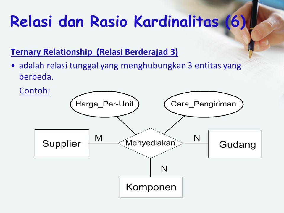 Ternary Relationship (Relasi Berderajad 3) adalah relasi tunggal yang menghubungkan 3 entitas yang berbeda. Contoh: Relasi dan Rasio Kardinalitas (6)