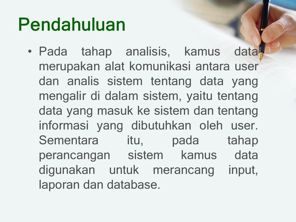 Data Element Dictionary Entry Contoh:
