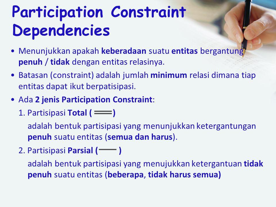 Participation Constraint Dependencies Menunjukkan apakah keberadaan suatu entitas bergantung penuh / tidak dengan entitas relasinya. Batasan (constrai