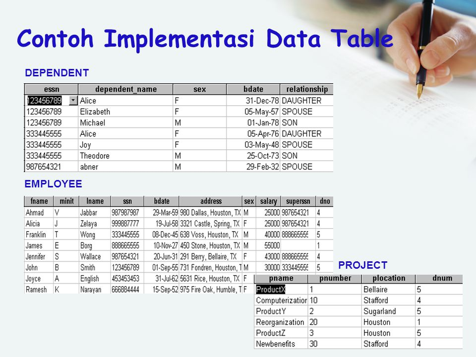 EMPLOYEE PROJECT DEPENDENT Contoh Implementasi Data Table