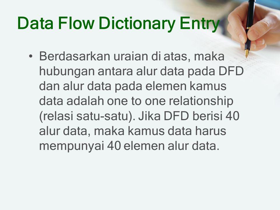Data Flow Dictionary Entry Berdasarkan uraian di atas, maka hubungan antara alur data pada DFD dan alur data pada elemen kamus data adalah one to one