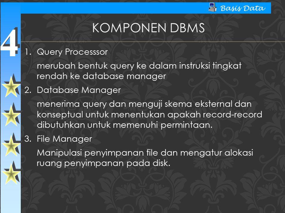 4 4 Basis Data KOMPONEN DBMS 1.Query Processsor merubah bentuk query ke dalam instruksi tingkat rendah ke database manager 2.Database Manager menerima