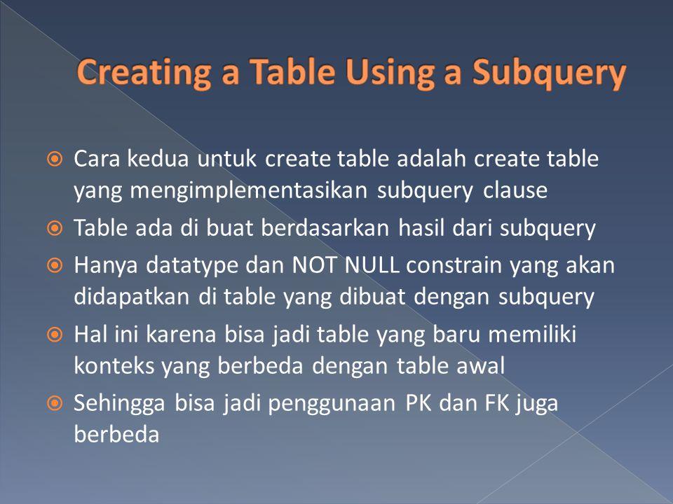  Cara kedua untuk create table adalah create table yang mengimplementasikan subquery clause  Table ada di buat berdasarkan hasil dari subquery  Han
