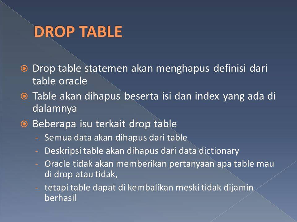  Drop table statemen akan menghapus definisi dari table oracle  Table akan dihapus beserta isi dan index yang ada di dalamnya  Beberapa isu terkait