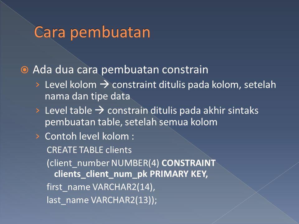  Ada dua cara pembuatan constrain › Level kolom  constraint ditulis pada kolom, setelah nama dan tipe data › Level table  constrain ditulis pada ak