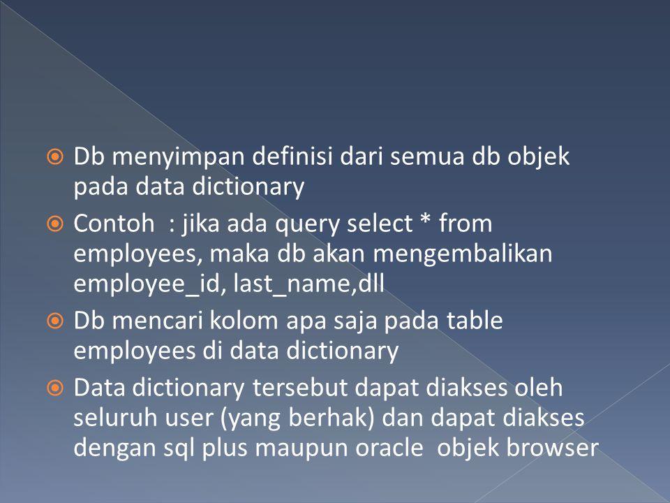  Db menyimpan definisi dari semua db objek pada data dictionary  Contoh : jika ada query select * from employees, maka db akan mengembalikan employe