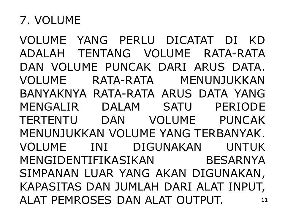 11 7. VOLUME VOLUME YANG PERLU DICATAT DI KD ADALAH TENTANG VOLUME RATA-RATA DAN VOLUME PUNCAK DARI ARUS DATA. VOLUME RATA-RATA MENUNJUKKAN BANYAKNYA