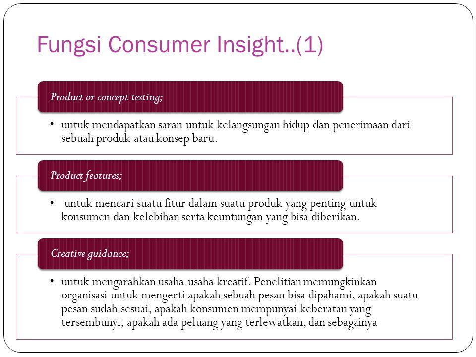 Fungsi Consumer Insight..(1) untuk mendapatkan saran untuk kelangsungan hidup dan penerimaan dari sebuah produk atau konsep baru. Product or concept t