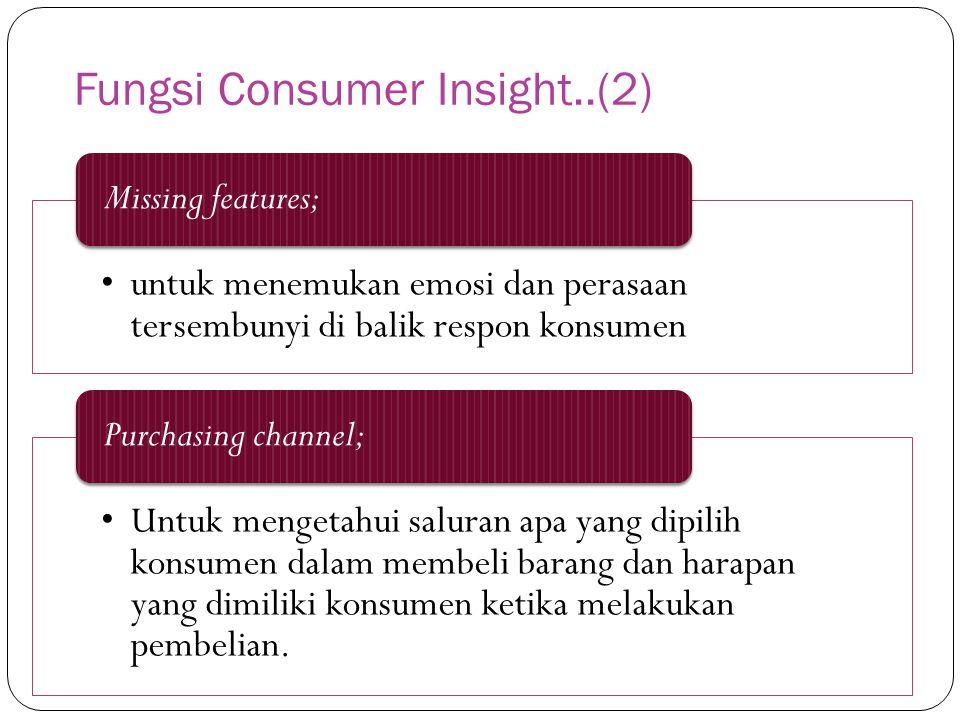 Fungsi Consumer Insight..(2) untuk menemukan emosi dan perasaan tersembunyi di balik respon konsumen Missing features; Untuk mengetahui saluran apa yang dipilih konsumen dalam membeli barang dan harapan yang dimiliki konsumen ketika melakukan pembelian.