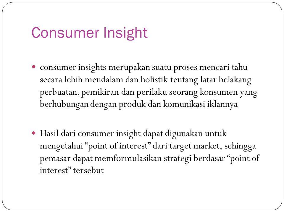 Consumer Insight consumer insights merupakan suatu proses mencari tahu secara lebih mendalam dan holistik tentang latar belakang perbuatan, pemikiran dan perilaku seorang konsumen yang berhubungan dengan produk dan komunikasi iklannya Hasil dari consumer insight dapat digunakan untuk mengetahui point of interest dari target market, sehingga pemasar dapat memformulasikan strategi berdasar point of interest tersebut