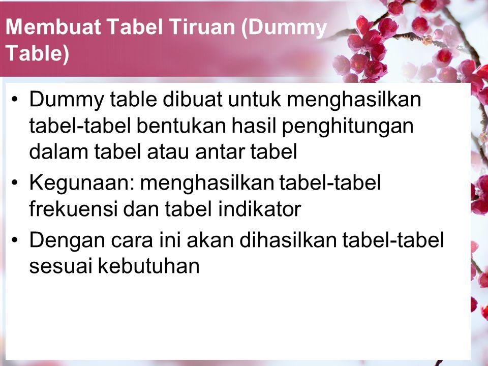 Membuat Tabel Tiruan (Dummy Table) Dummy table dibuat untuk menghasilkan tabel-tabel bentukan hasil penghitungan dalam tabel atau antar tabel Kegunaan: menghasilkan tabel-tabel frekuensi dan tabel indikator Dengan cara ini akan dihasilkan tabel-tabel sesuai kebutuhan