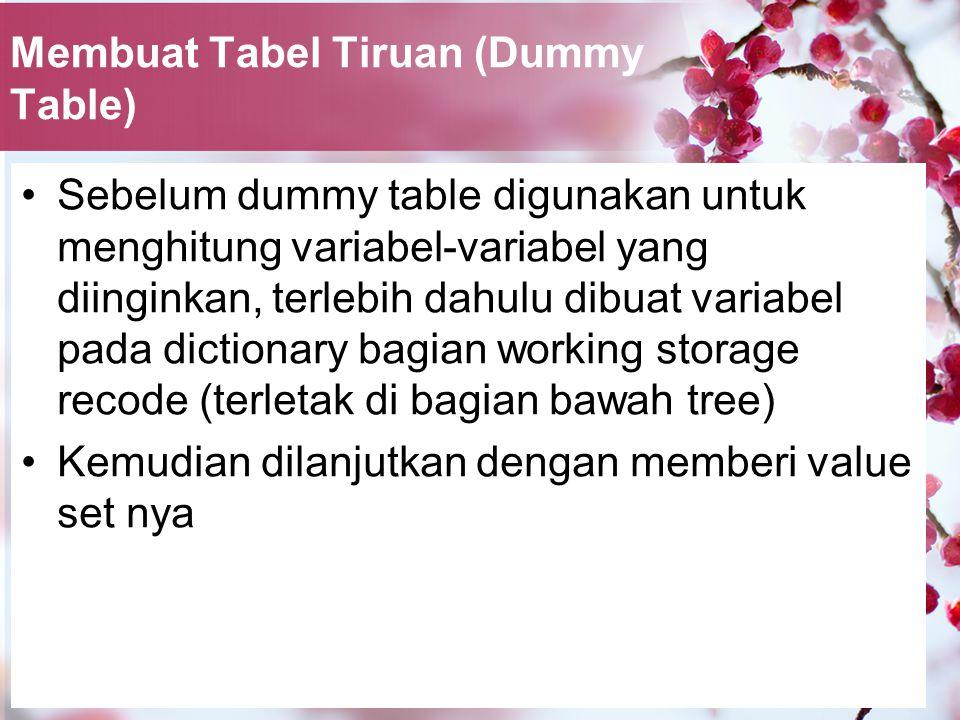 Membuat Tabel Tiruan (Dummy Table) Sebelum dummy table digunakan untuk menghitung variabel-variabel yang diinginkan, terlebih dahulu dibuat variabel pada dictionary bagian working storage recode (terletak di bagian bawah tree) Kemudian dilanjutkan dengan memberi value set nya
