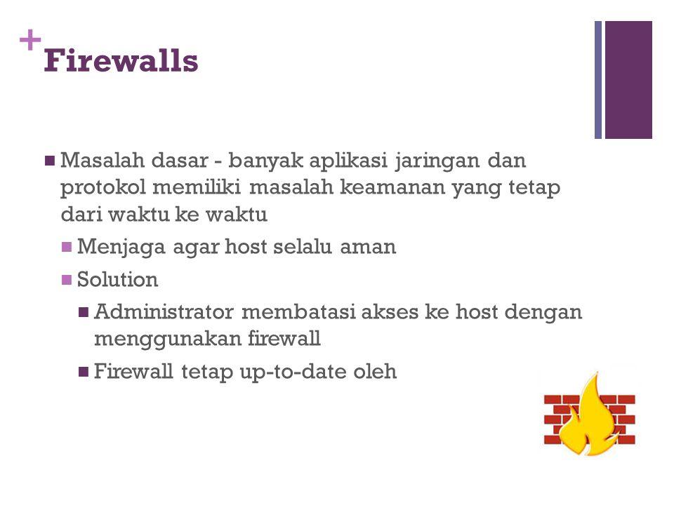 + Firewalls Masalah dasar - banyak aplikasi jaringan dan protokol memiliki masalah keamanan yang tetap dari waktu ke waktu Menjaga agar host selalu am