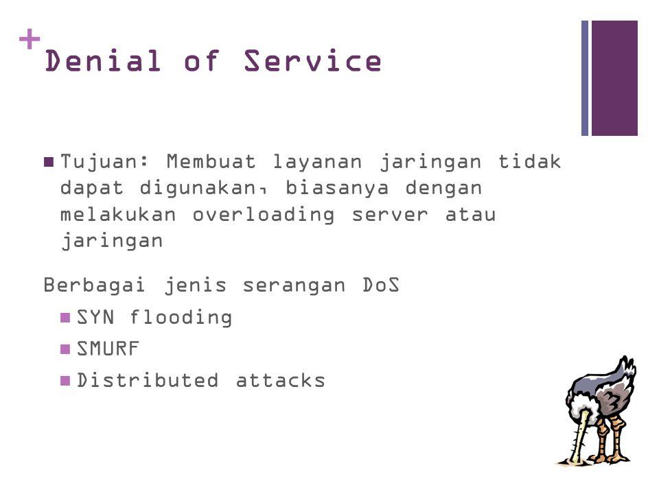 + Denial of Service Tujuan: Membuat layanan jaringan tidak dapat digunakan, biasanya dengan melakukan overloading server atau jaringan Berbagai jenis