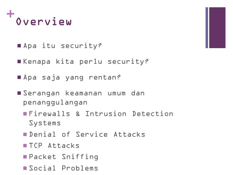 + Overview Apa itu security? Kenapa kita perlu security? Apa saja yang rentan? Serangan keamanan umum dan penanggulangan Firewalls & Intrusion Detecti