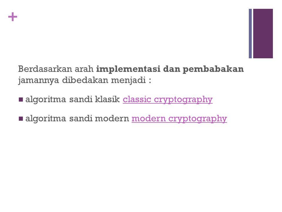 + Berdasarkan arah implementasi dan pembabakan jamannya dibedakan menjadi : algoritma sandi klasik classic cryptographyclassic cryptography algoritma
