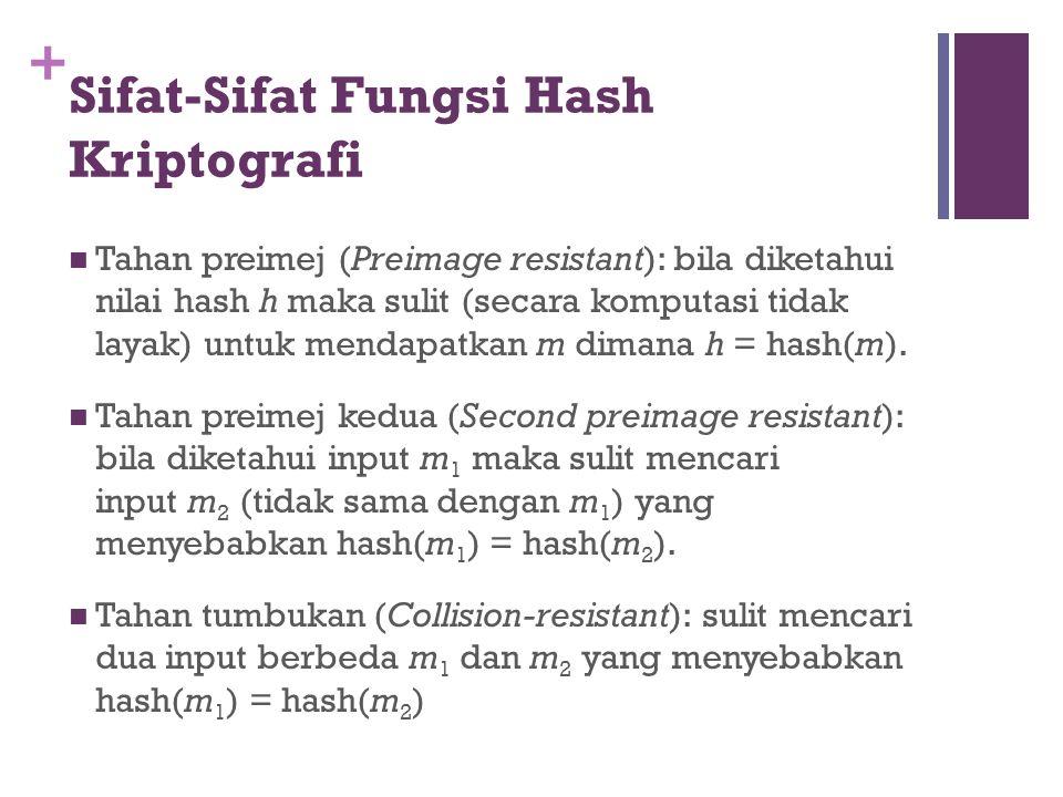 + Sifat-Sifat Fungsi Hash Kriptografi Tahan preimej (Preimage resistant): bila diketahui nilai hash h maka sulit (secara komputasi tidak layak) untuk