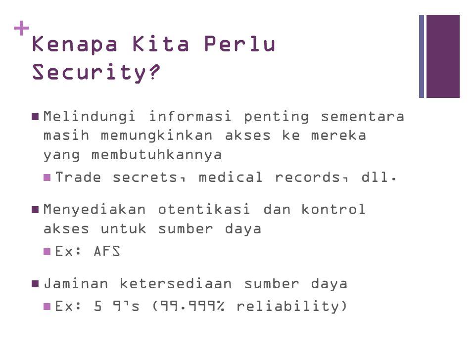 + Kenapa Kita Perlu Security? Melindungi informasi penting sementara masih memungkinkan akses ke mereka yang membutuhkannya Trade secrets, medical rec