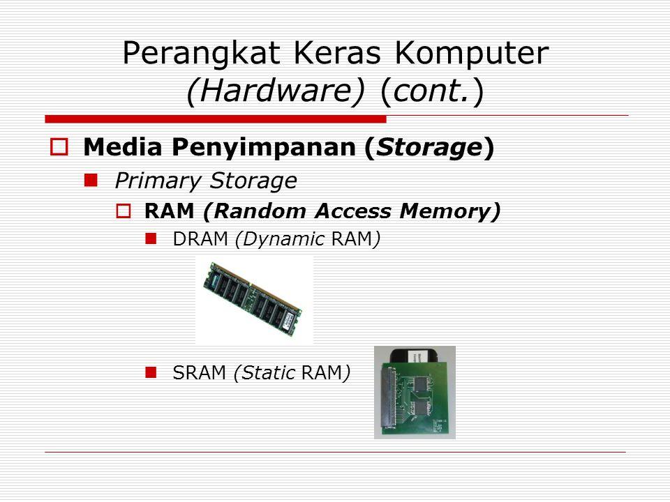 Perangkat Keras Komputer (Hardware) (cont.)  Media Penyimpanan (Storage) Primary Storage  RAM (Random Access Memory) DRAM (Dynamic RAM) SRAM (Static