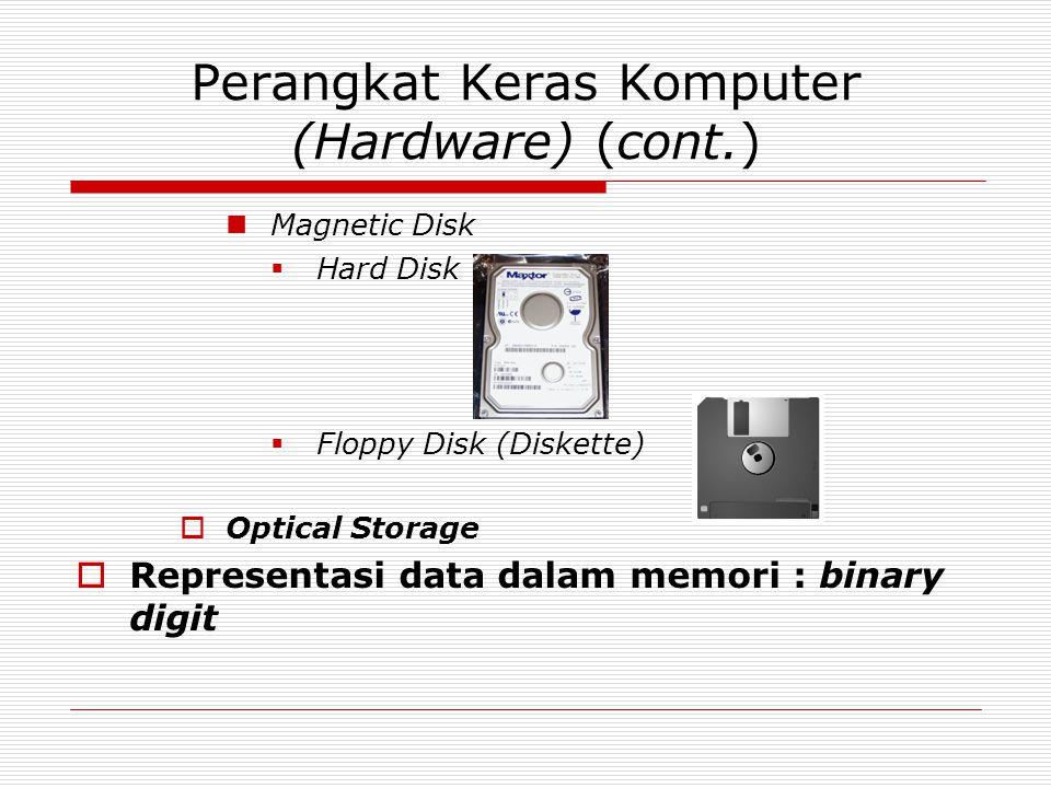Perangkat Keras Komputer (Hardware) (cont.) Magnetic Disk  Hard Disk  Floppy Disk (Diskette)  Optical Storage  Representasi data dalam memori : binary digit