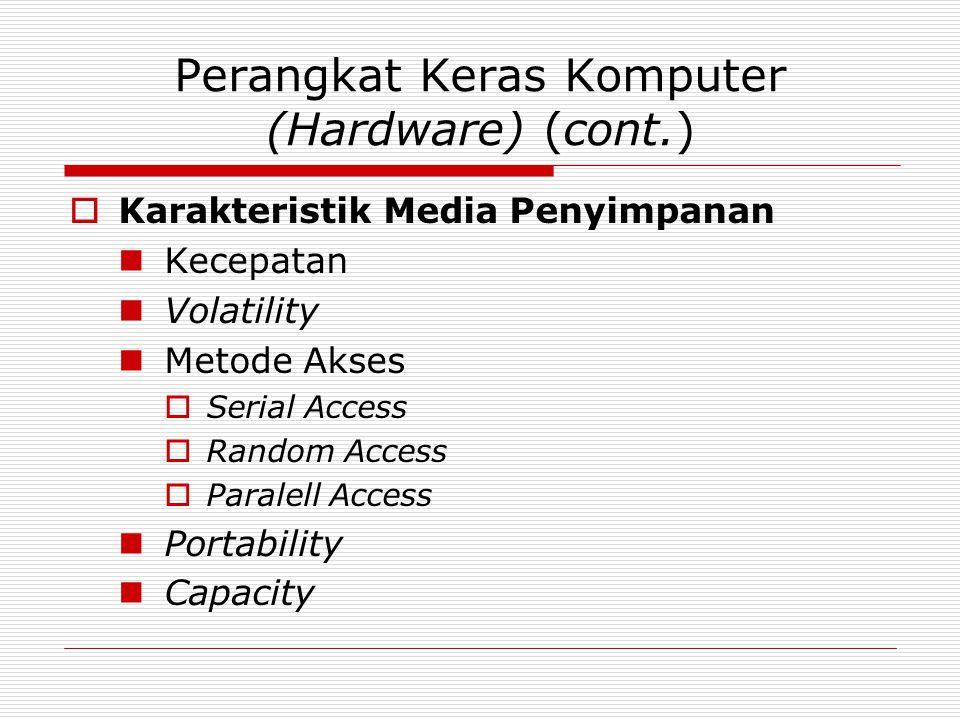 Perangkat Keras Komputer (Hardware) (cont.)  Karakteristik Media Penyimpanan Kecepatan Volatility Metode Akses  Serial Access  Random Access  Para