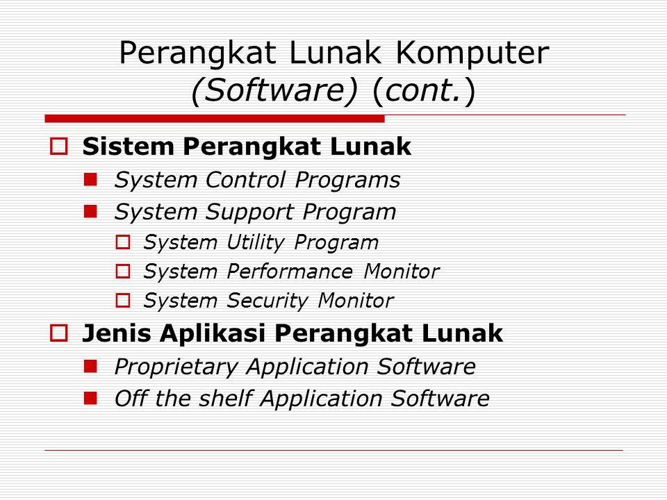 Perangkat Lunak Komputer (Software) (cont.)  Sistem Perangkat Lunak System Control Programs System Support Program  System Utility Program  System