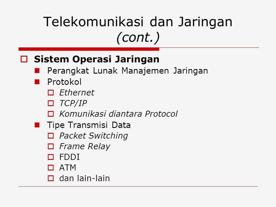 Telekomunikasi dan Jaringan (cont.)  Sistem Operasi Jaringan Perangkat Lunak Manajemen Jaringan Protokol  Ethernet  TCP/IP  Komunikasi diantara Protocol Tipe Transmisi Data  Packet Switching  Frame Relay  FDDI  ATM  dan lain-lain