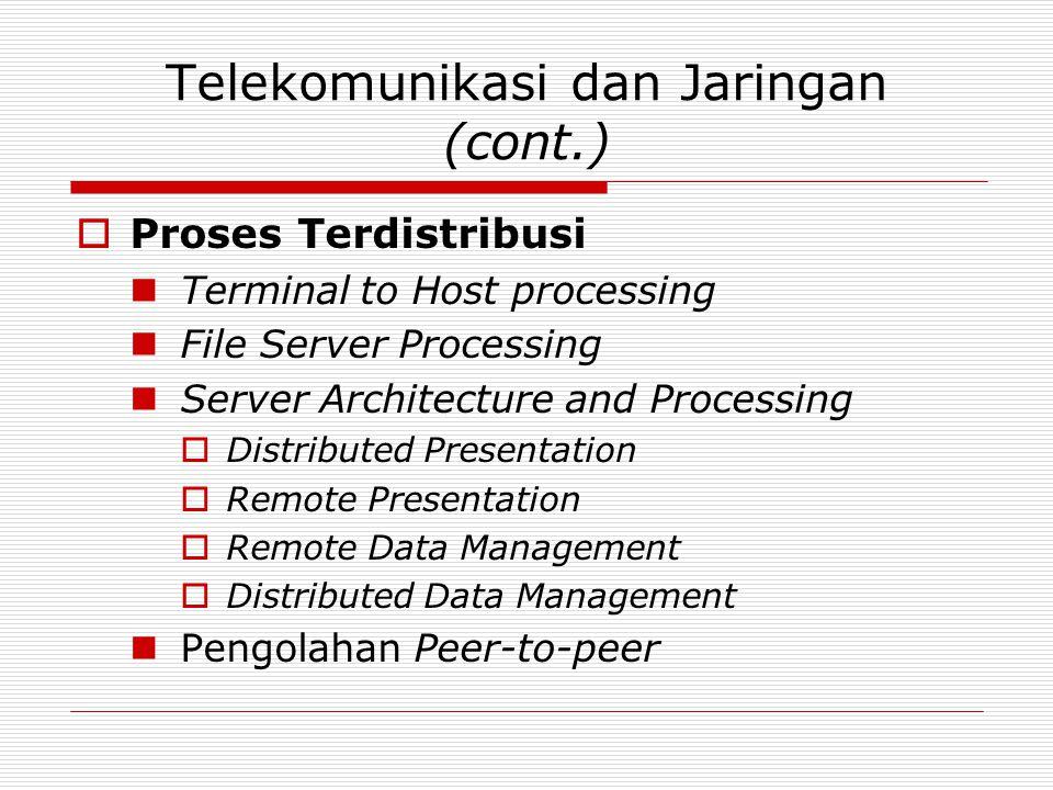 Telekomunikasi dan Jaringan (cont.)  Proses Terdistribusi Terminal to Host processing File Server Processing Server Architecture and Processing  Dis