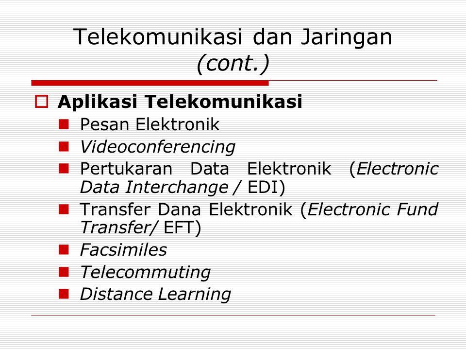 Telekomunikasi dan Jaringan (cont.)  Aplikasi Telekomunikasi Pesan Elektronik Videoconferencing Pertukaran Data Elektronik (Electronic Data Interchange / EDI) Transfer Dana Elektronik (Electronic Fund Transfer/ EFT) Facsimiles Telecommuting Distance Learning
