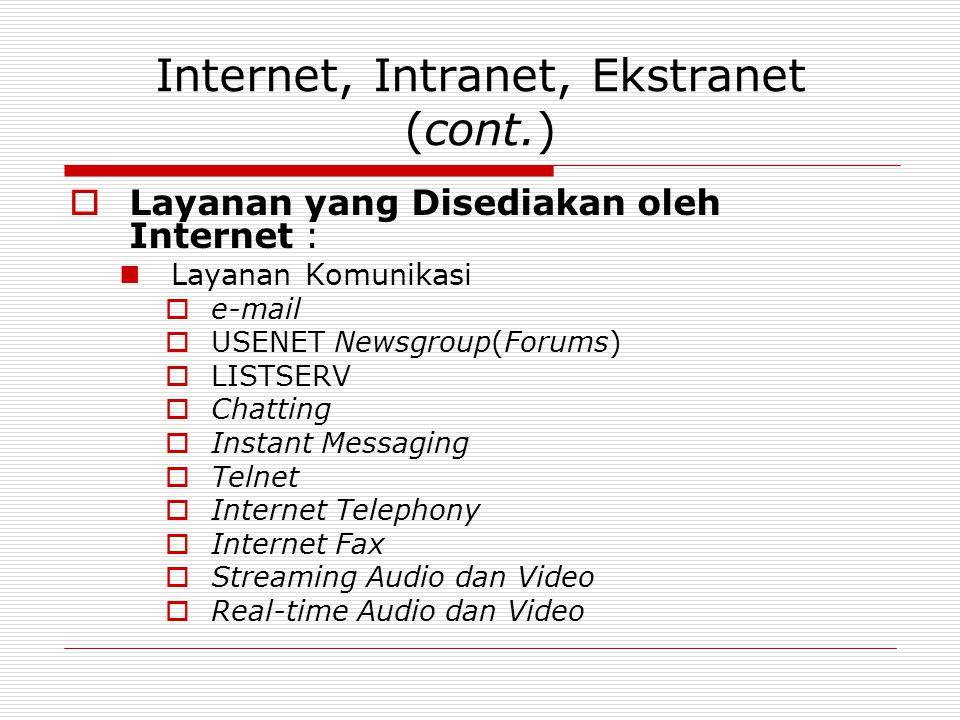 Internet, Intranet, Ekstranet (cont.)  Layanan yang Disediakan oleh Internet : Layanan Komunikasi  e-mail  USENET Newsgroup(Forums)  LISTSERV  Chatting  Instant Messaging  Telnet  Internet Telephony  Internet Fax  Streaming Audio dan Video  Real-time Audio dan Video