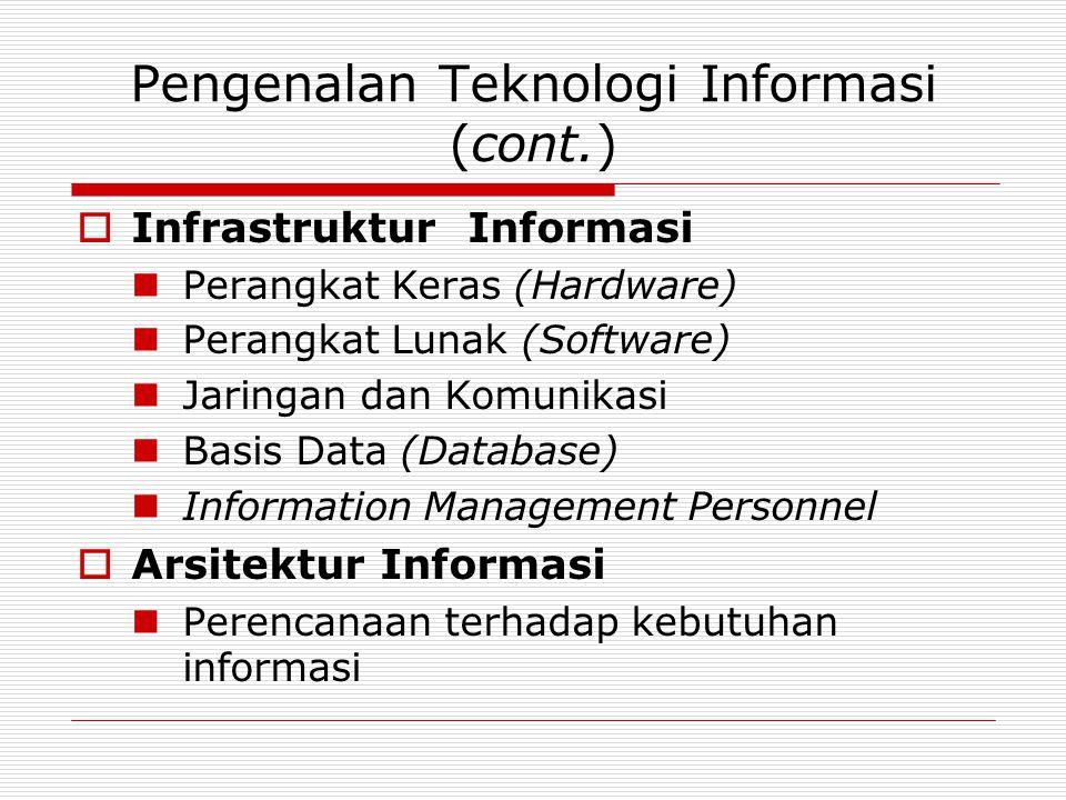 Pengenalan Teknologi Informasi (cont.)  Kemampuan Sistem Informasi Proses transaksi cepat dan akurat Kapasitas penyimpanan besar dan akses cepat Komunikasi cepat, dll.