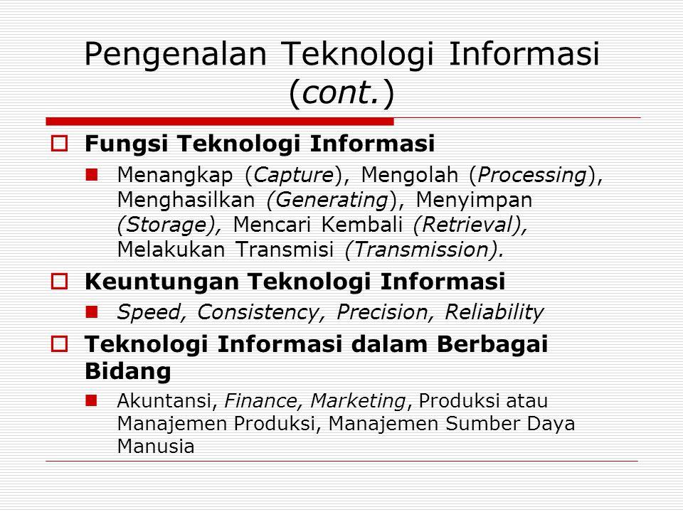 Pengenalan Teknologi Informasi (cont.)  Fungsi Teknologi Informasi Menangkap (Capture), Mengolah (Processing), Menghasilkan (Generating), Menyimpan (Storage), Mencari Kembali (Retrieval), Melakukan Transmisi (Transmission).
