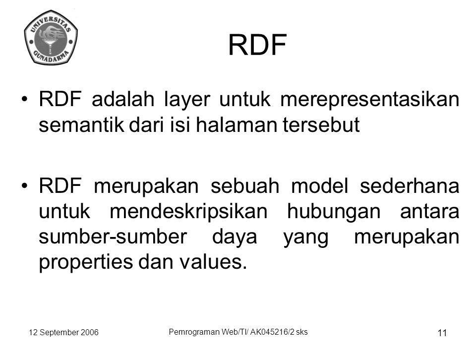 12 September 2006 Pemrograman Web/TI/ AK045216/2 sks 11 RDF RDF adalah layer untuk merepresentasikan semantik dari isi halaman tersebut RDF merupakan sebuah model sederhana untuk mendeskripsikan hubungan antara sumber-sumber daya yang merupakan properties dan values.
