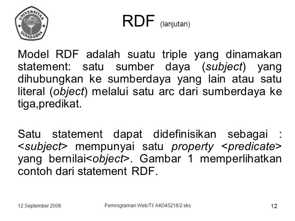 12 September 2006 Pemrograman Web/TI/ AK045216/2 sks 12 RDF (lanjutan) Model RDF adalah suatu triple yang dinamakan statement: satu sumber daya (subject) yang dihubungkan ke sumberdaya yang lain atau satu literal (object) melalui satu arc dari sumberdaya ke tiga,predikat.