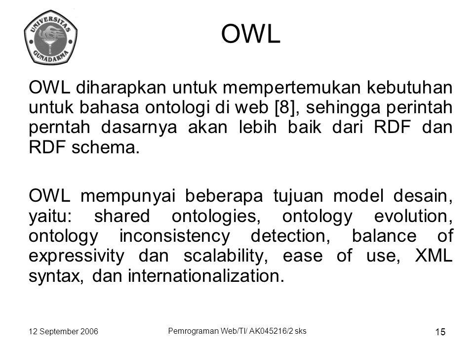 12 September 2006 Pemrograman Web/TI/ AK045216/2 sks 15 OWL OWL diharapkan untuk mempertemukan kebutuhan untuk bahasa ontologi di web [8], sehingga perintah perntah dasarnya akan lebih baik dari RDF dan RDF schema.